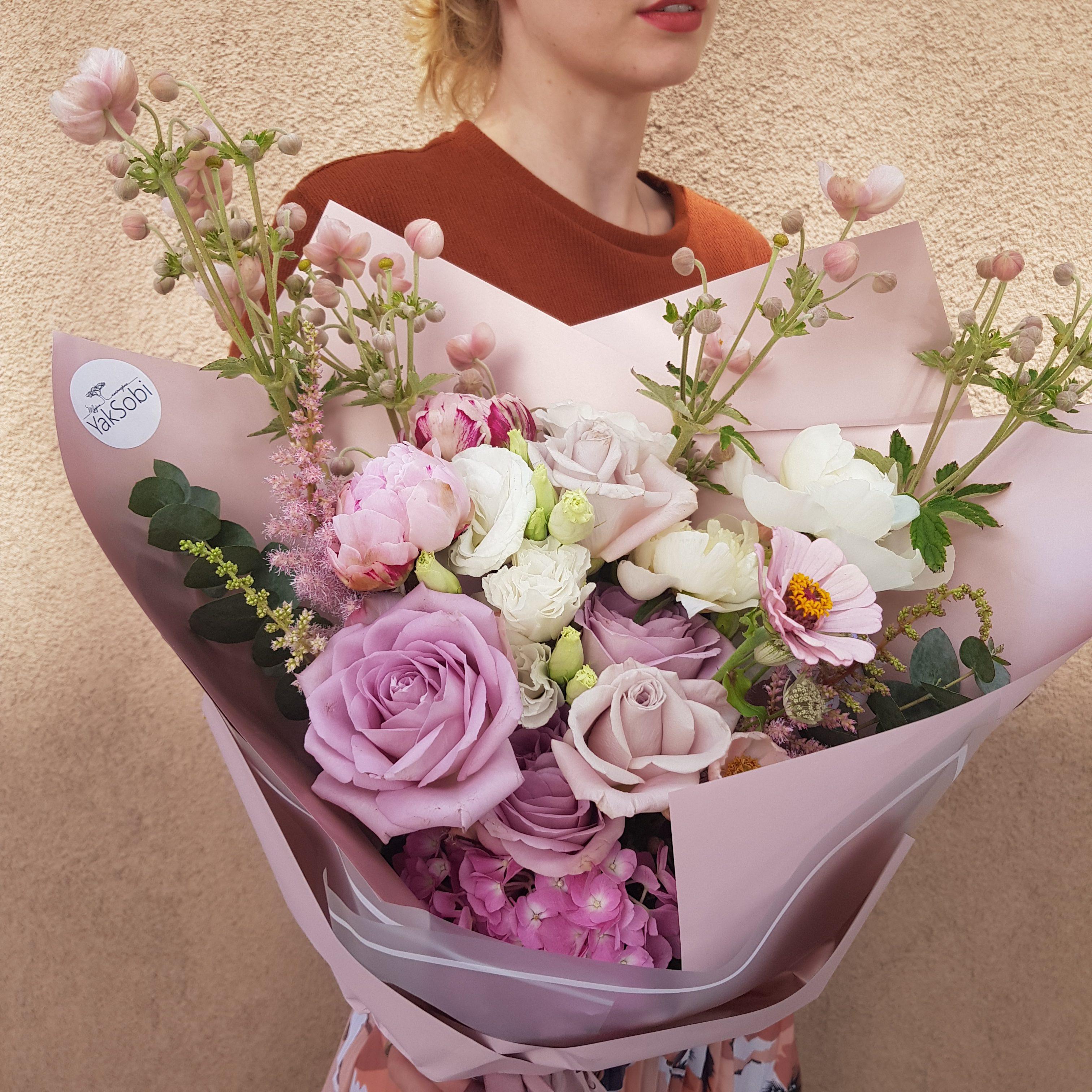 Рожево-ліловий букет з анемоною, трояндою та гортензією  А#36