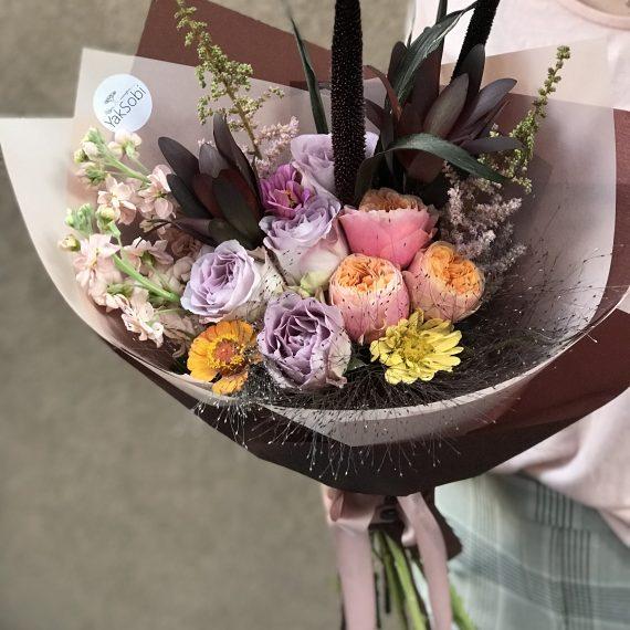 Абрикосово-ліловий букет з матіолою,трояндою та гортензією А#40